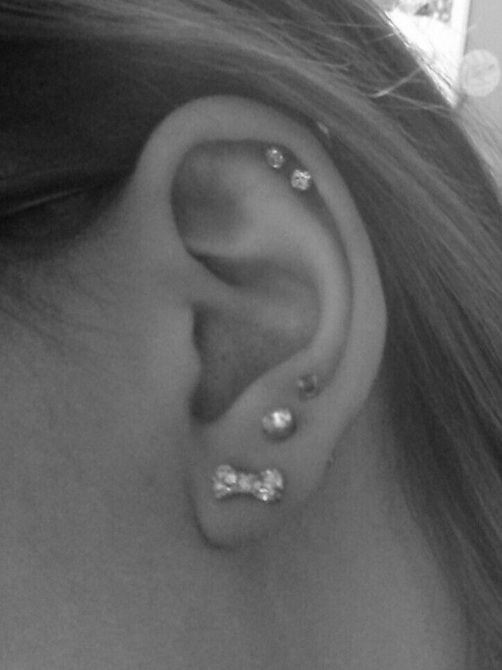Love my ear piercings. Triple lobe and double cartilage ...