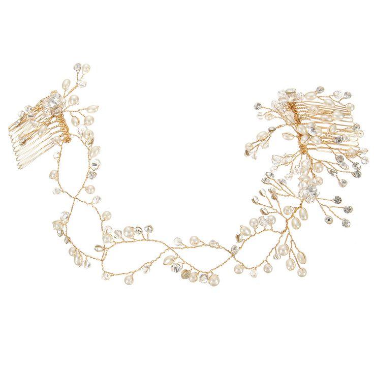 Bride Luxury Crystal Pearl Bead Hair Chian Comb Wedding Bridal Tiara Hair Accessories Headband