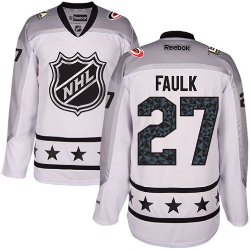 Men's Carolina Hurricanes #27 Justin Faulk White 2017 All-Star Metropolitan Division Stitched NHL Jersey