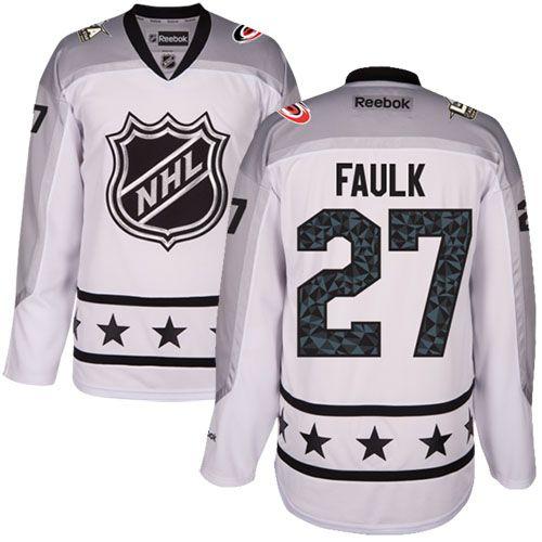Men's Carolina Hurricanes #27 Justin Faulk White 2017 All-Star Metropolitan Division Stitched NHL Jersey