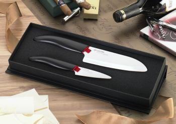 Zestaw noży ceramicznych(Nóż Santoku 14 cm + Nóż do obierania 7,5 cm) biało-czarny – Kyocera