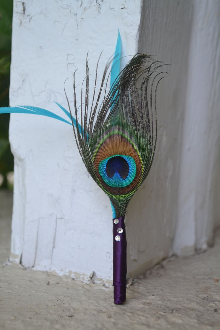 My Day Bouquet - Peacock Boutonnière with matching Teal Goose Feather Embellishment, Eggplant Satin Ribbon, and Rhinestones = Perfect!!!