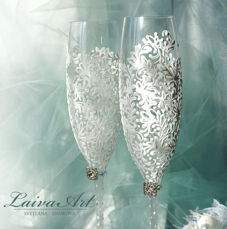 Wedding Champagne Flutes Wedding Champagne Glasses White Toasting Flutes White Wedding Decoration by LaivaArt on Etsy