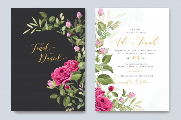 Elegant Wedding Card Template With Beautiful Roses Wreath Wedding Cards Floral Wedding Invitation Card Wedding Card Templates