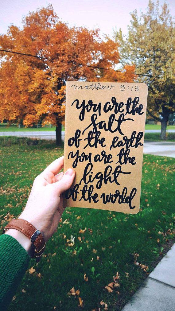 You are the salt of the earth, prayer journal, light of the world, moleskine kraft journal, scripture gift, Matt 5:13