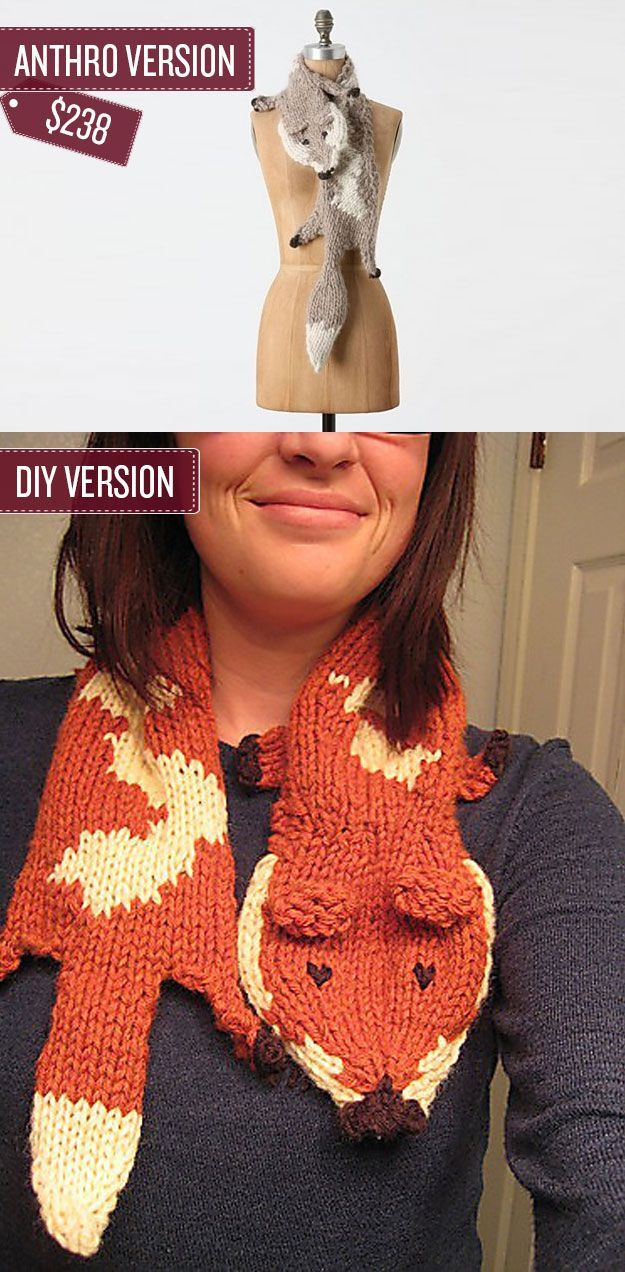 Knit a fox stole. | 38 Anthropologie Hacks