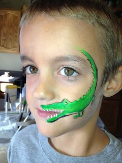 Alligator - I need to figure out some better feet for this guy.  (And I need to learn how to spell Alligator.)  - Face Painting by Jennifer Van Dyke