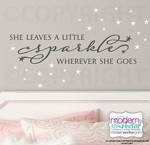 She Leaves A Little Sparkle Wherever She Goes Quote Vinyl Wall Decal Lettering Girls Nursery Playroom Bedroom
