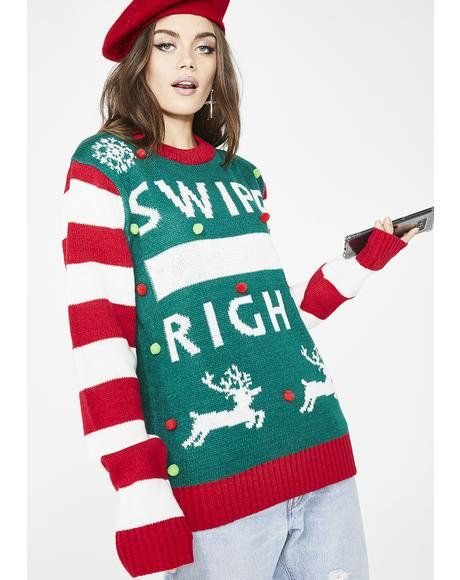 Always Swiping Right Sweater Dollskill Christmas Holiday Ugly