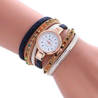 Trendy armbandhorloge goud-rosé goud donker blauw