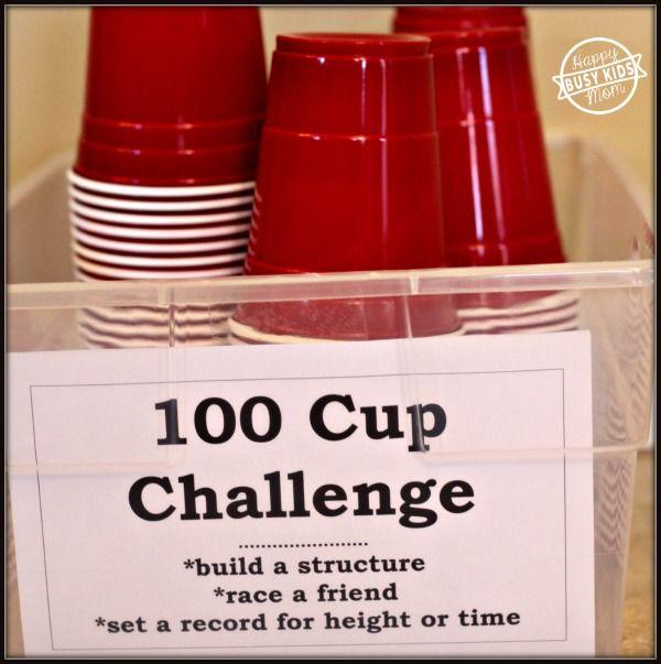 100 Cup Challenge, Indoor Creative Fun, Nerf Target Practice. Inexpensive fun!