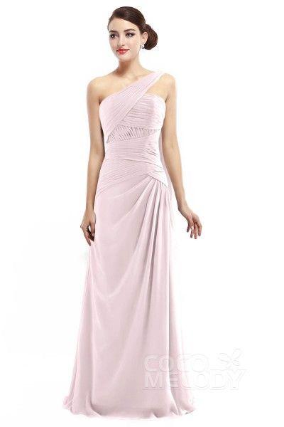 Chic Sheath-Column One Shoulder Natural Floor Length Chiffon Sleeveless Zipper Bridesmaid Dress with Pleating COZF14021