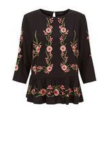 Black Floral Embroidered Top | New Look