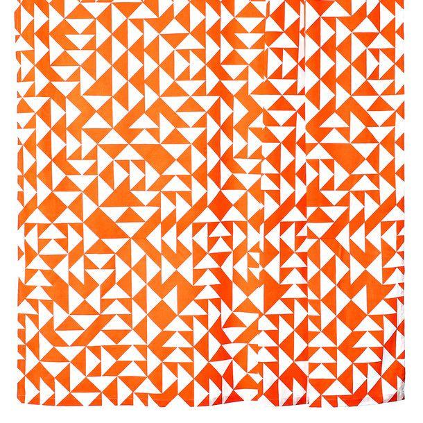 Shower Curtain Geometric Orange