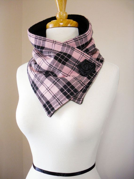 RESERVED Pink and Black Plaid Neck Warmer Scarf by FashionCogs