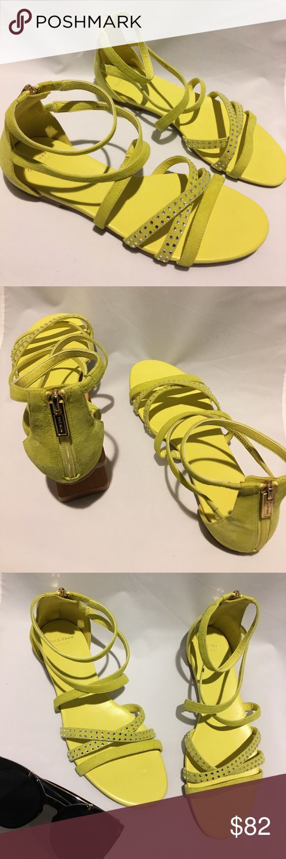 Cole Haan Neon Sandals in Size 8 Brand new in perfect condition Cole Haan neon Sandals in Size 8. Features jeweled design on toe straps and fuller zipper closure on Heel. Gorgeous for the summer! Cole Haan Shoes Sandals