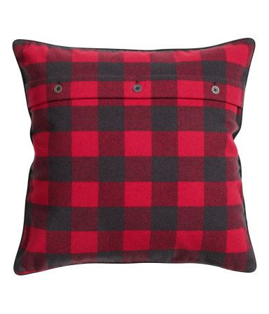 black and red flannel pillow cover $18 DIY this by moving the button seam to the top instead of down the middle. Genius.