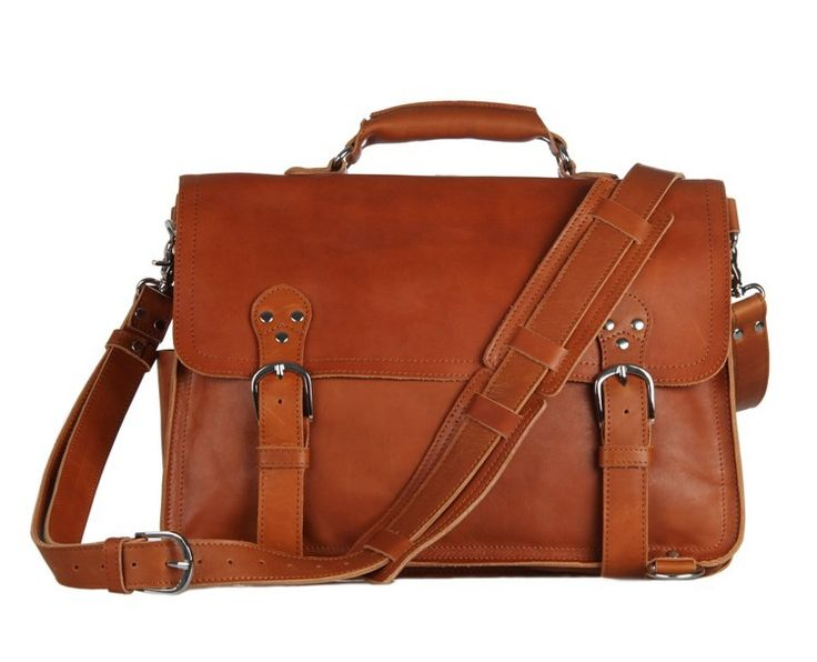 "Vintage Leather Brown Briefcase 16"" via Vintage Leather Bags. Click on the image to see more!"