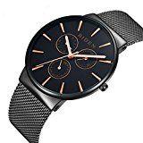 #7: Reloj de hombre relojes acero inoxidable negro clásico lujo Business Casual relojes cuarzo impermeable multifunciones gdfb malla banda reloj de pulsera