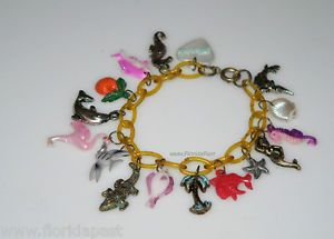 Vintage Seaside Beach Florida Theme Tropical Celluloid Charm Bracelet Plastic | eBay