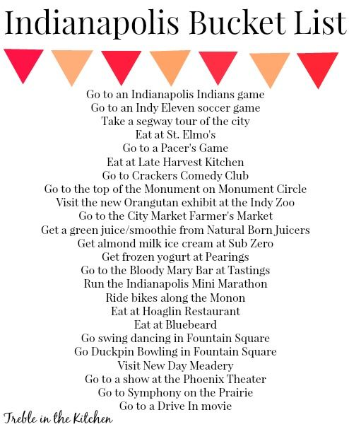 Indianapolis Bucket List - As an Indy native I've already done several of these :)