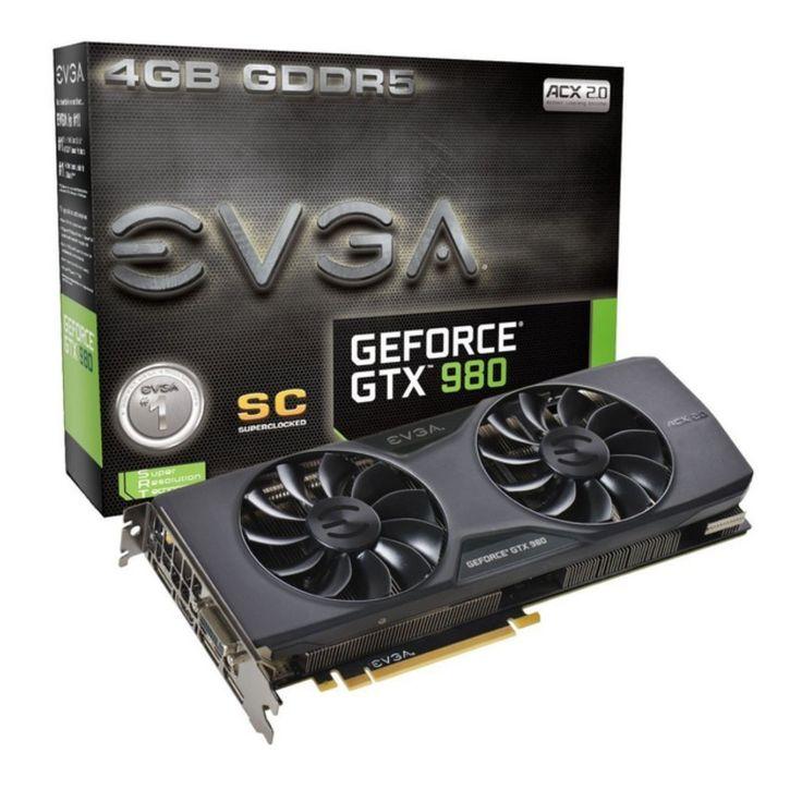 EVGA nVidia GeForce GTX980 Superclocked: PCI-Express x16 3.0, GDDR5 4GB, 256-Bit, GPU: 1241MHz Core (1342MHz Boost) / Mem:7010MHz, DVI x2, HDMI x1, 1x DP, DirectX 11.1Dual Slot Design, Nvidia CUDA, Nvidia PhysX, Nvidia PureVideoHD, Nvidia 3D Vision Ready, Nvidia FXAA/TXAA, Nvidia SLI Ready, Nvidia Surround, EVGA ACX Cooler : Graphics Card - Graphics Cards - Video Card - Video Cards