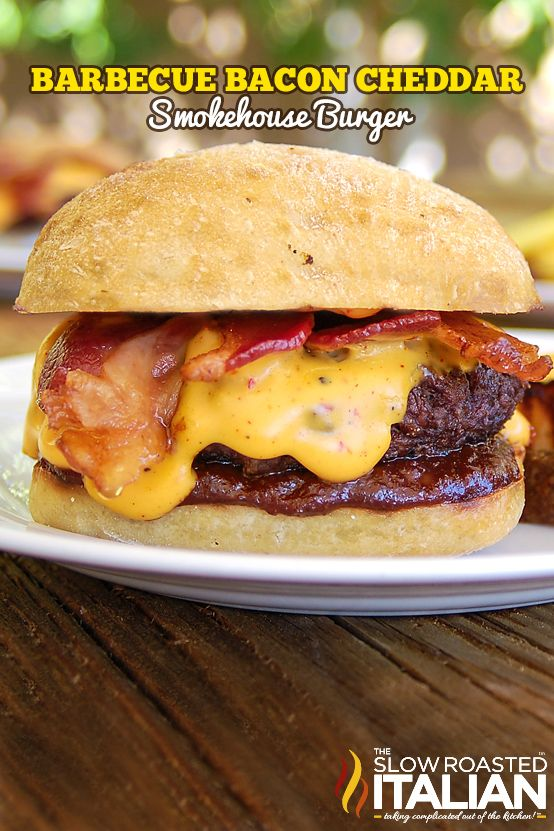 TSRI's Barbecue Bacon Beer Cheddar Smokehouse Burger is our #1 all time burger recipe.  It is a sensationally smoky burger loaded with homemade barbecue sauce and beer cheese sauce you are going to flip your lid over this burger.  Can you feel love for a burger? Well if you can this is the burger to love! Recipe From @SlowRoasted
