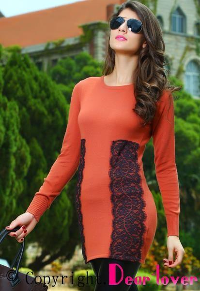 Оранжевые платья и свитера