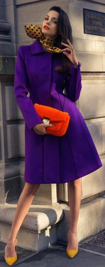 Purple! This is a Beautiful Purple Dress Coat! and the heels, Purse and Scarf are all Perfect Fall/Winter Fashion