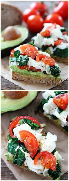 Avocado Toast with Eggs Spinach and Tomatoes Recipe on twopeasandtheirpo... This easy and healthy recipe is great for breakfast lunch dinner or snack time!