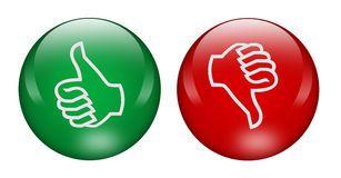 Pulgares arriba y abajo de los botones Foto de archivo libre de regalías