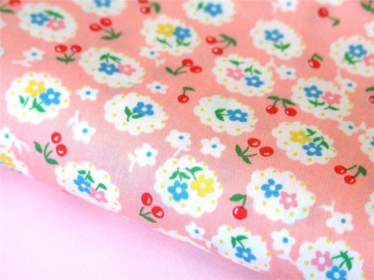 PINK vintage Daisy cherry retro girl FABRIC for craft quilting patchwork bunting