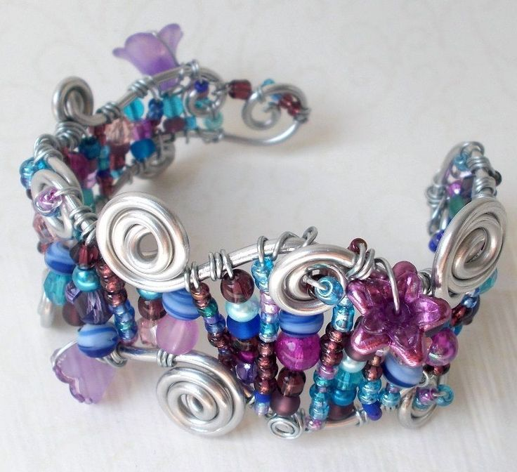 Blau Lila Silber Blütenmeer Armband/Meerjungfrau Fee Elfenprinzessin  30gr.Blume