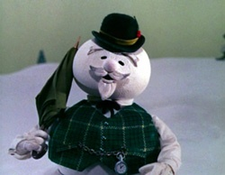 Burl Ives as the voice of Sam the snowman in Rudolph!
