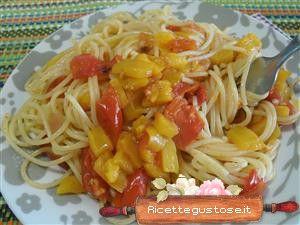 Spaghetti al sugo di peperoni