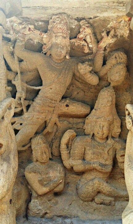 """ Lord Shiva Cuts one of the Heads of Lord Brahma. "" Kailashnath Temple, at Kanchipuram. Pallava Dynasty. 7th Century CE. Tamil Nadu, India."