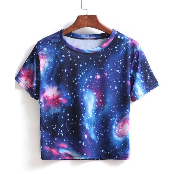 SheIn(sheinside) Blue Short Sleeve Galaxy Print Crop T-Shirt featuring polyvore, fashion, clothing, tops, t-shirts, shirts, crop top, blue, blue t shirt, short sleeve shirts, galaxy print t shirt and crop shirts