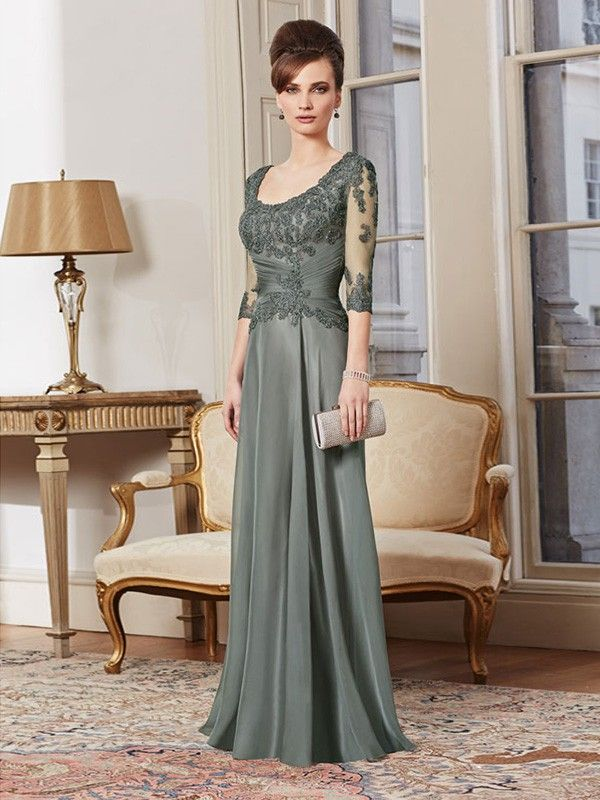 A-line/Princess Square Half Sleeves Lace Floor-Length Chiffon Mother Of The Bride Dresses