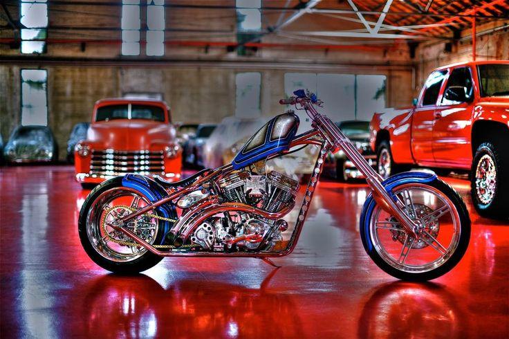 Chrome Frame Blue El Diablo built by West Coast Choppers - WCC of U.S.A. - Image 3784