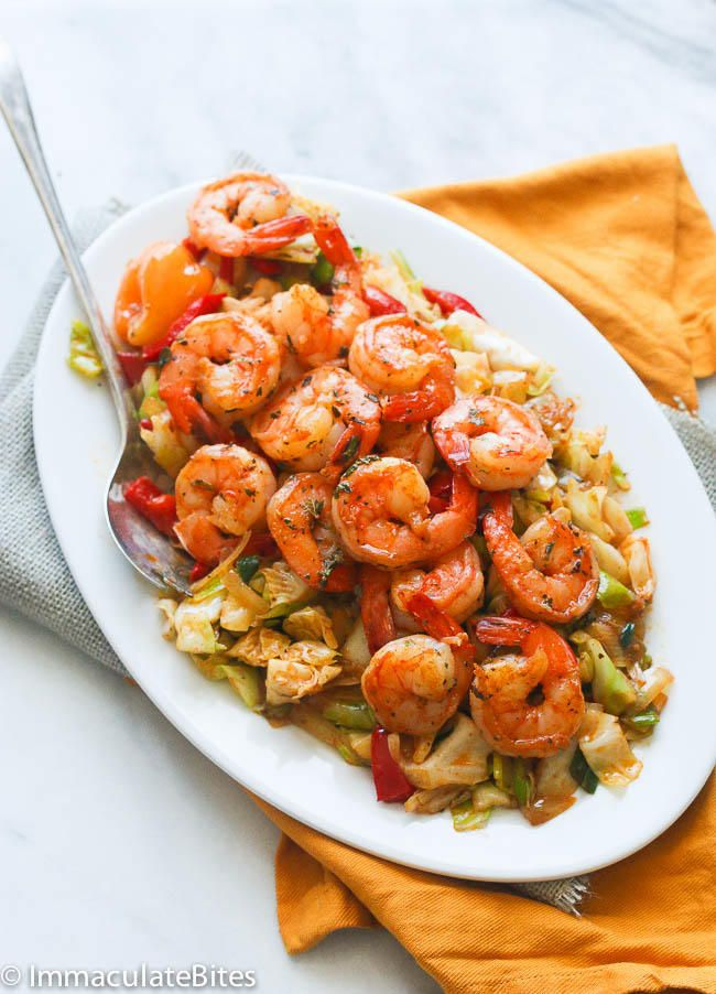 Jamaican Cabbage and Shrimp - A quick stir fried cabbage seasoned with aromatic spices  and topped with sauté shrimp . A Delicious  side dish to accompany any meal......