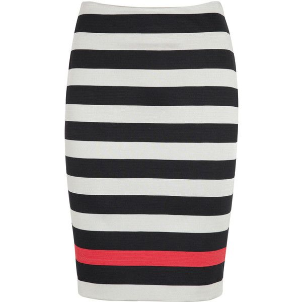 Diane Von Furstenberg New Koto Striped Jersey Pencil Skirt found on Polyvore