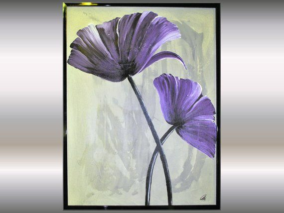 Acrylic abstract flower painting, framed artwork – slikanje