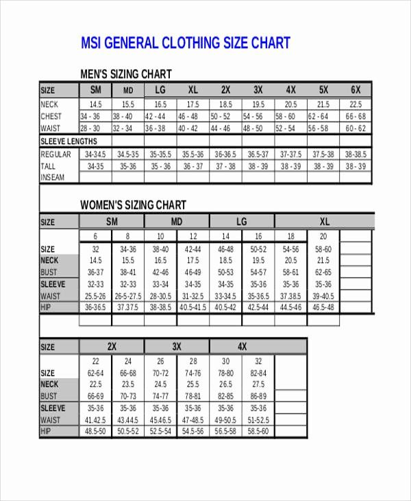 Clothing Size Chart Template Elegant 10 Size Chart Free Sample Example Format Download Clothing Size Chart Size Chart Flow Chart Template