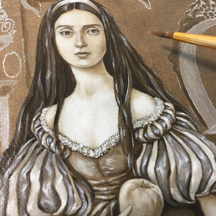 """Eeva Nikunen (@eevanikunen) on Instagram: """"I'm currently painting Snow White, it's a portrait of her with her red poison apple 🍎. I've started…"""""""