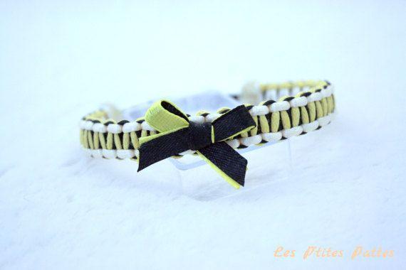 Collier bijou tressé pour chien noir et jaune