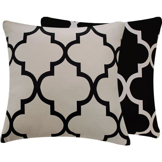need make pillows / use moroccan fabric Quatrefoil Black Cream Pillow Cover 20x20 Moroccan Riad Lattice Living Room Pillow Home Decor, Ying and Yang Collection