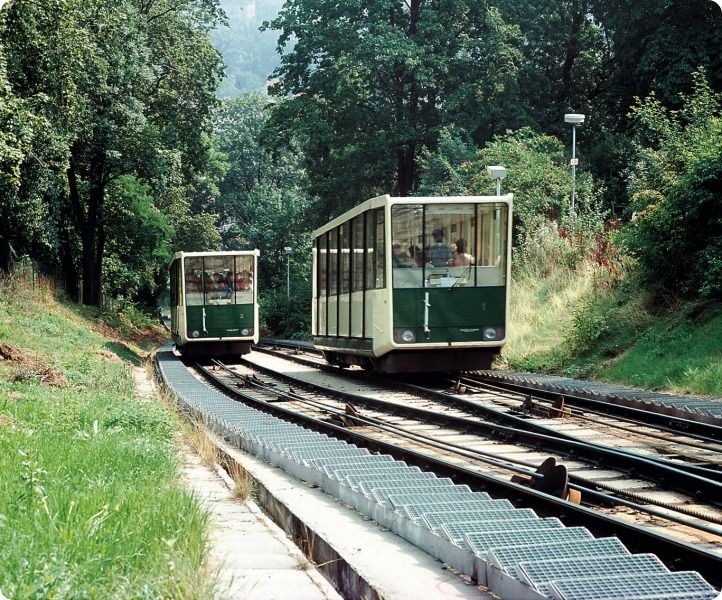 The Petřín Funicular  The funicular on Petřín Hill connects to tram service at the Újezd stop, and services the Újezd - Nebozízek - Petřín route.