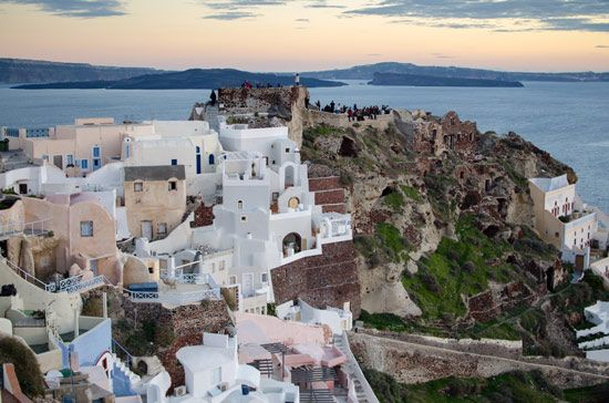 The Byzantine Castle Ruins in the village of Oia, Santorini