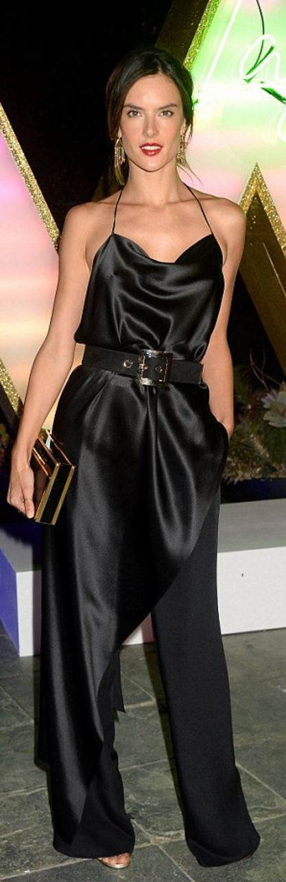 Alessandra Ambrosio: Dress – Juan Carlos Obando  Jewelry – Shay  Purse – Naeem Khan