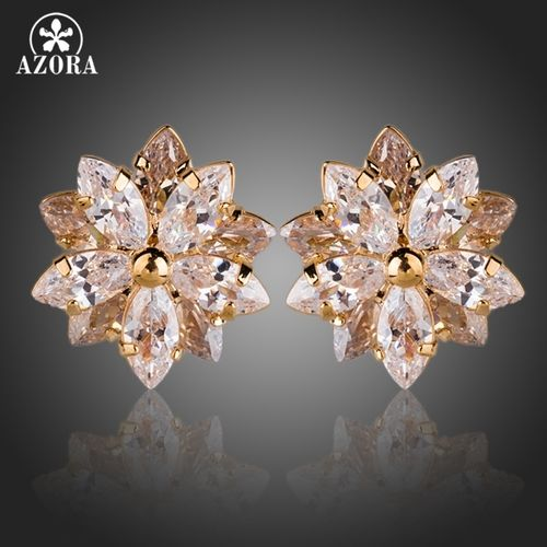 AZORA 18k Gold Plated Lotus Flower With 10pcs Top Quality Cubic Zirconia  Stud Earrings TE0139. Starting at  1  659ab09767a3